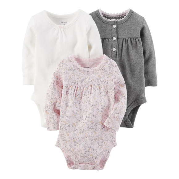 685a3bd10425d Carter's One Pieces | Carters Baby Girl 3pack Long Sleeve Bodysuits ...